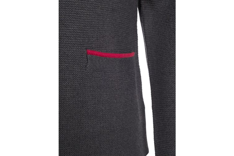 James and Nicholson Mens Traditional Knitted Jacket (Anthracite Melange/Red) (L)