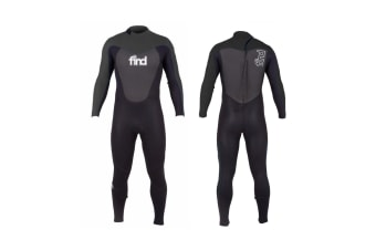 FIND™ Men's 3mm/2mm Flatlock Steamer Long Sleeve & Leg Neoprene Wetsuit with Knee Pads - Black - Medium