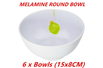 6 x White Melamine Round Rice Bowls 15x8cm Serving Catering Dinner Dessert Bowl