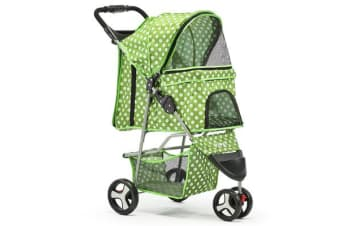 i.Pet 3 Wheel Pet Stroller (Green)