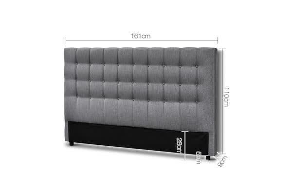 Upholstered Fabric Headboard (Queen/Grey)