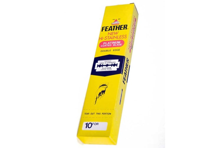Feather Hi-stainless Platinum Coated Double Edge Blades-200 Blades