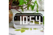 Rechargeable Led Digital Alarm Clock Large Display Portable Battery Powered Grey