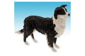 Border Collie Dog Stalking Figurine (Black/White)