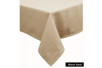 Cotton Blend Table Cloth 180cm x 260cm  - WARM SAND