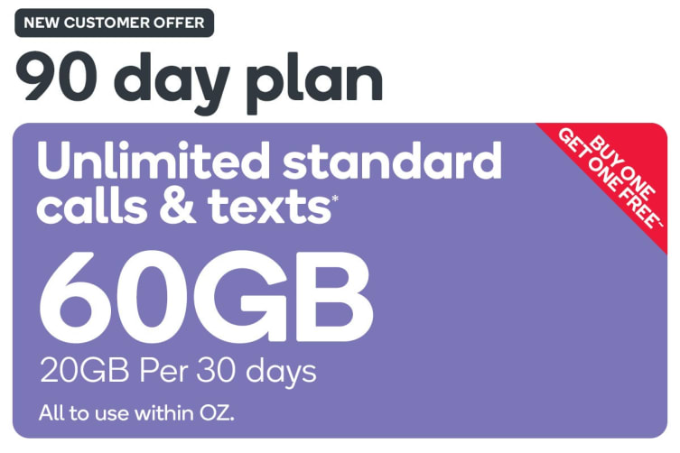 Kogan Mobile Prepaid Voucher Code: LARGE (90 Days | 20GB Per 30 Days) - Buy  One Get One Free