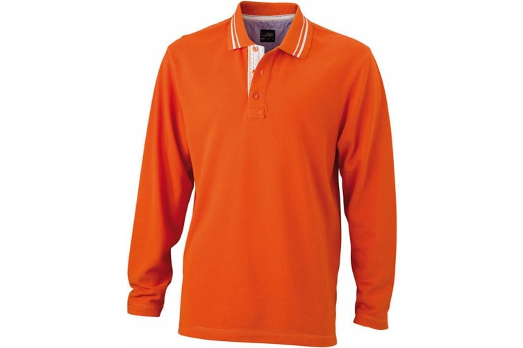 James and Nicholson Mens Long Sleeved Polo (Dark Orange/Off White) (XL)