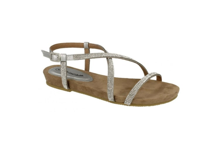Leather Collection Womens/Ladies Diamante Cross Strap Sandals (Silver) (6 UK)