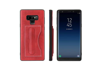 For Samsung Galaxy Note 9 Case Luxury Leather Phone Cover Build in Kickstand Red
