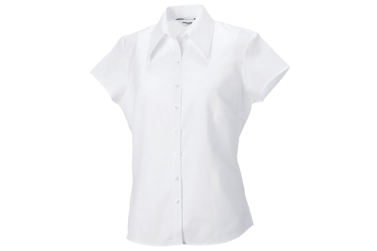 Russell Collection Womens/Ladies Short Cap Sleeve Tencel® Fitted Shirt (White) (XL)