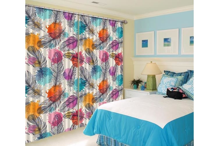 3D Feathers And Color Dots 342 Curtains Drapes, 264cmx241cm(WxH) 104''x 94''