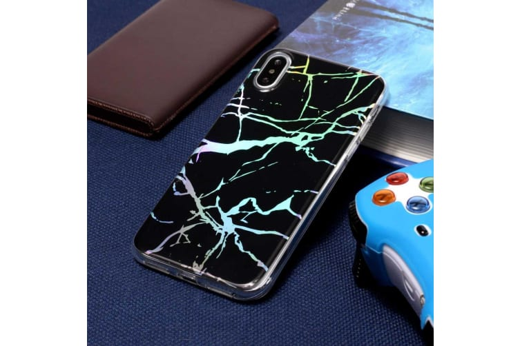 For iPhone XR Case Black Color Plated Marble Protective Back Cover