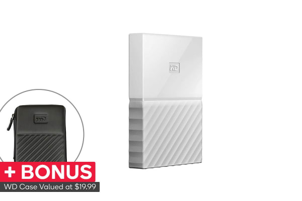 WD My Passport 2TB USB 3.0 Portable Hard Drive - White (WDBYFT0020BWT-WESN)