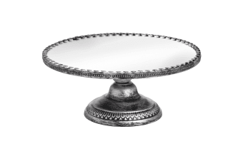 Hill Interiors Antique Mirrored Heart Cake Stand in Brushed Silver (Silver) (One Size)