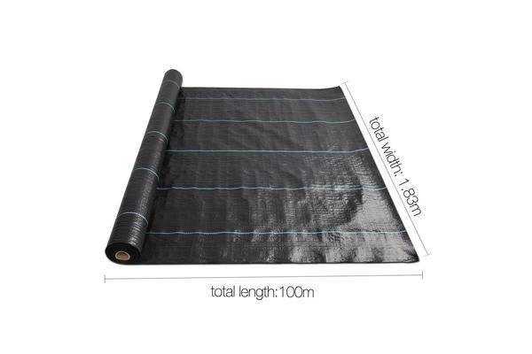Instahut 1.83m X 100m Weedmat Weed Control Mat Woven Fabric Gardening Plant PE Black