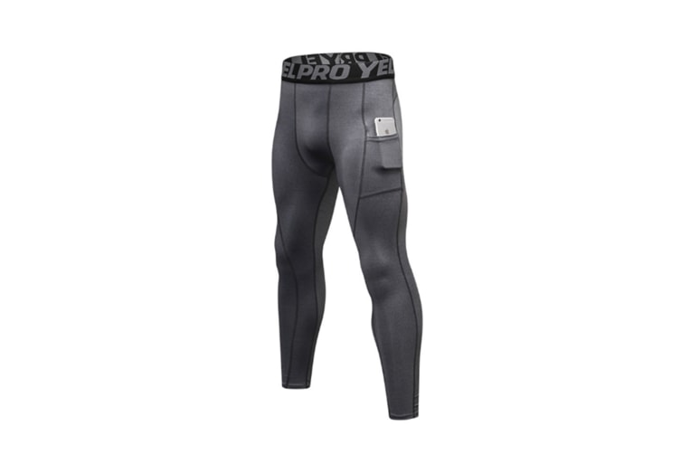 Men'S Compression Base Layer Tights Pants Fitness Running Grey S