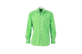 James and Nicholson Mens Traditional Shirt (Green/White) (XL)