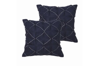 A Pair of Santorini Sapphire Euro Pillowcases by Platinum Collection