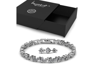 2pc Swarovski Crystal Embellished Set-White Gold/Clear