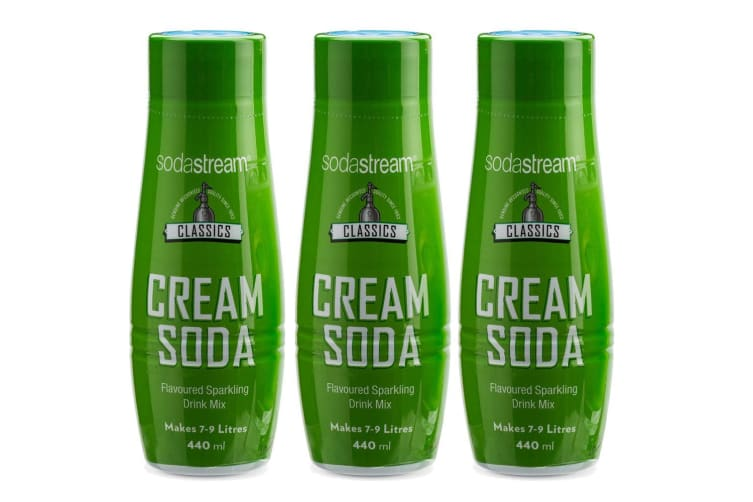 3x SodaStream Classics Cream Soda 440ml/Sparkling Water Syrup Drink Mix/Makes 9L
