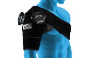 Ice20 Ice Therapy Double Shoulder Cold Compression Wrap Pain Relief w/ Strap/Bag