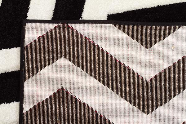 Modern Chevron Design Rug Black White 230x160cm