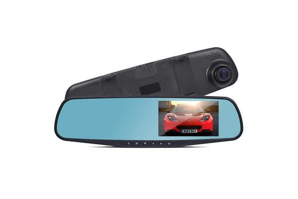"Reverse Mirror Front Rear Dual Crash Cam Hd 1080P Dvr Recorder 4.3"" Lcd Dv400"