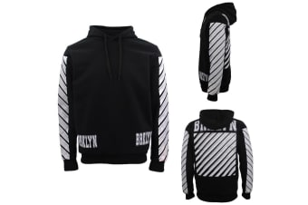 New Men's Unisex Pullover Hoodie Casual Sports Fleece Lined Jumper Sweater White - Black - Black