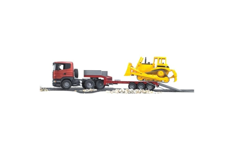 Bruder 90cm 1:16 Scania R-Series Low Loader Truck/CAT Bulldozer Tractor Kids Toy
