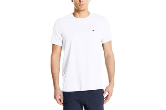 Tommy Hilfiger Men's Crew Neck Flag Tee (White, Size M)