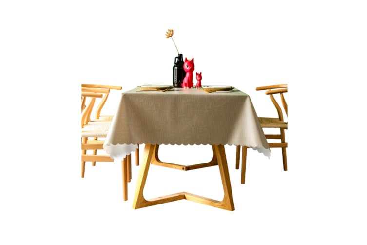 Pvc Waterproof Tablecloth Oil Proof And Wash Free Rectangular Table Cloth Coffee 65*65Cm