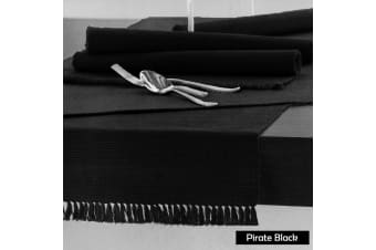 Cotton Ribbed Table Runner 45cm x 200cm - PIRATE BLACK