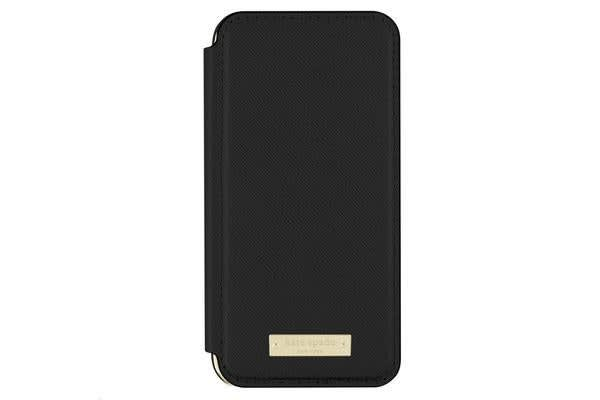 Incipio KSNY iPhone 7 Folio Case - Saffiano Black/Gold Logo
