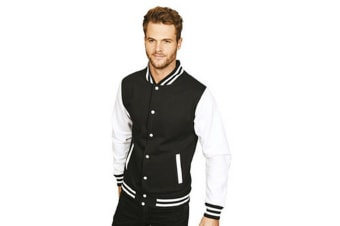 Casual Classic Mens Varsity Jacket (Black/White)