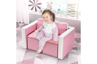 Kidbot 2in1 Kids Sofa 3 Piece Table and Chair Set Play Activity Furniture with Storage Space Pink