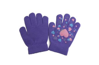 Girls Fun Winter Magic Gloves With Rubber Print (Lilac) (Up to 12 years)