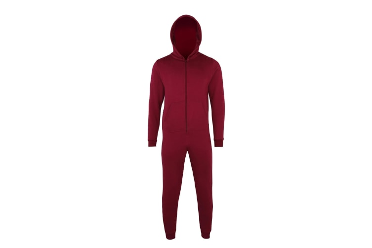 Comfy Co Childrens Unisex Plain All In One / Onesie (Burgundy) (3-4 Years)