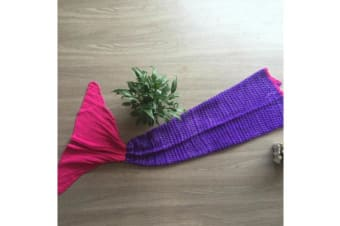 Knitted Mermaid Tail Blanket Crochet Leg Wrap Adult Ladies Purple Pink 180X90Cm