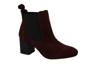 Leather Collection Womens/Ladies Mid Heel Twin Gusset Ankle Boots (Burgundy) (UK 7)