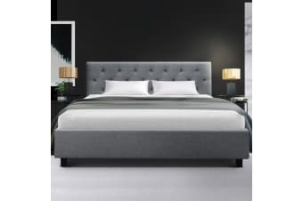 Artiss Queen Size Bed Frame VANKE Fabric Wooden Mattress Base with Headboard