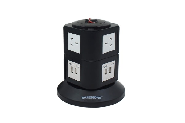 Safemore VPS Original Power Stackr 2 Level with 6 Power Outlets & 4 USB - Black/White (SM-GL2U002-WB)