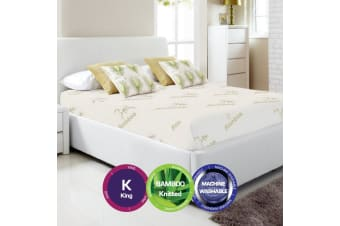 Bamboo Print Fully Fitted Mattress Protector -King