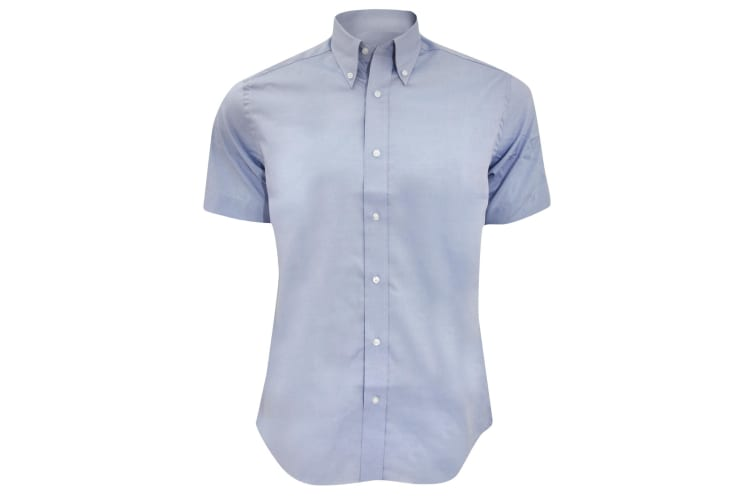 Kustom Kit Mens Short Sleeve Tailored Fit Premium Oxford Shirt (Light Blue) (14.5inch)