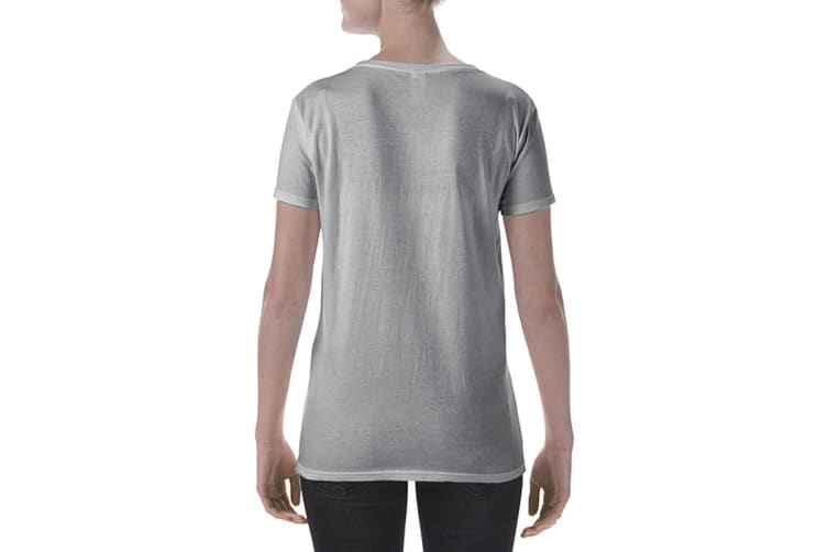 Gildan Womens/Ladies Short Sleeve Deep Scoop Neck T-Shirt (Sport Grey (RS)) (M)