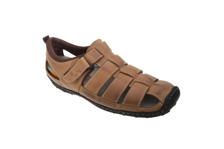 Roamers Mens Touch Fastening Closed Toe Sandals (Brown) (10 UK)