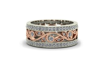 Rose Gold Crystal Ring Women Wedding Party Band Rings Plated Zircon 7