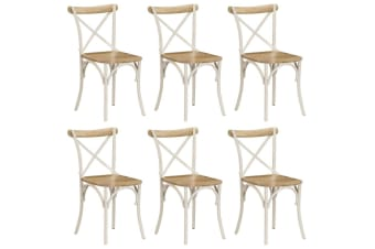 vidaXL Cross Chairs 6 pcs White Solid Mango Wood