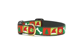 Up Country Christmas List Dog Collar (Red/Green) (XL)