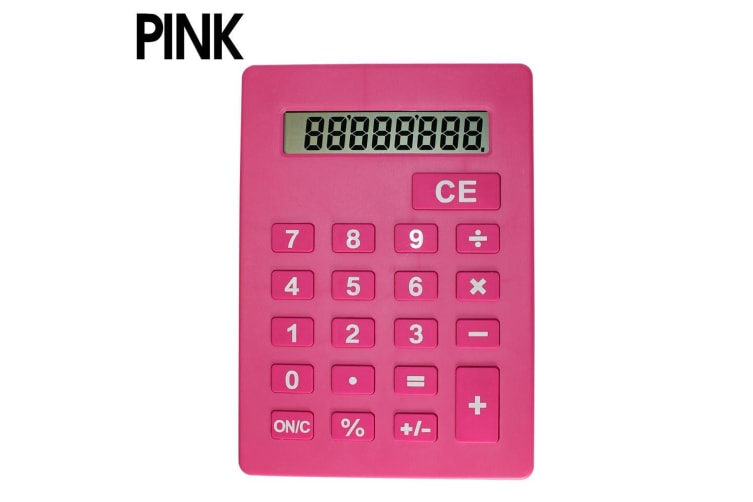 Jumbo Calculator Large Size Display Home Office Desktop Big Buttons Pink  -  Pink