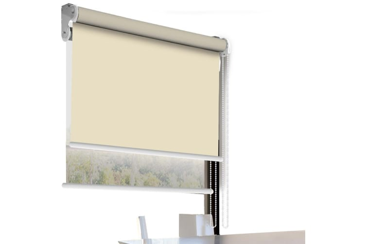 Modern Day/Night Double Roller Blind Commercial Quality 60-240cm(W) 210cm(D) NEW  -  210(W)x210(D)cm--Cream (white)